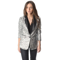 Silver Blazer w/ Metallic Sheer & Faux LeatherLlapel