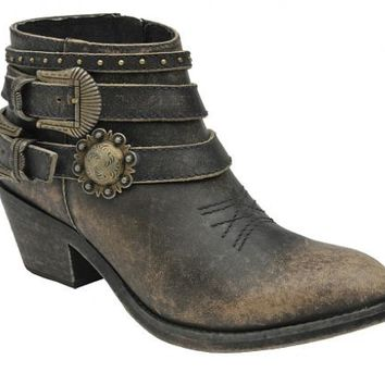 Corral Black Buckle Strap Ankle Boots P5101