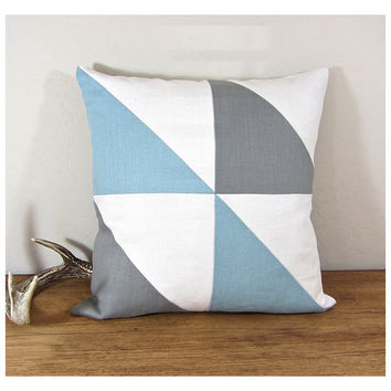 Triangle Modern Colorblock Pillow Cover - Grey/ Ivory/ Ice Blue Combo