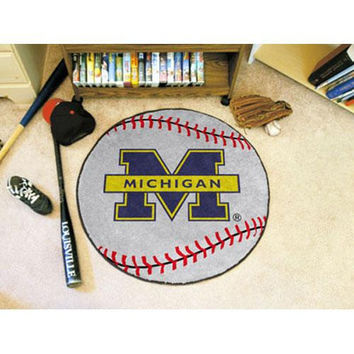 Michigan Wolverines NCAA Baseball Round Floor Mat (29)