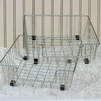 Vintage Metal Office Trays | 2 Metal In / Out Office Trays | Wire Baskets | Desk Trays | Paper File Tray | Vintage Office or Craft Room