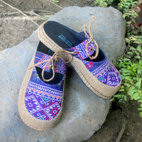 Slip On Womens Shoes Vegan Slides in Hand Woven Teen Jok Ethnic Textiles - Heidi