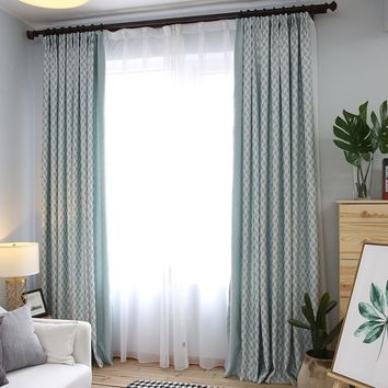 Hight quality modern style jacquard blackout curtains living room window curtains free ship