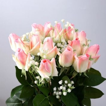 10 Style Romantic Artificial Silk Simulation Rose Flower Bridal Bouquet Prom Gift for Lover 1Pc