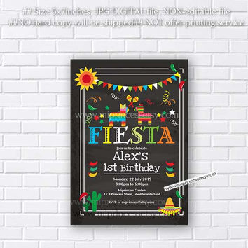 Mexican Fiesta Birthday invitation, Fiesta Party Birthday Invitation for any age,  Whimsical design  Colorful Festive birthday - card 280