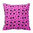 Pillow with Black Dots on Pink Background