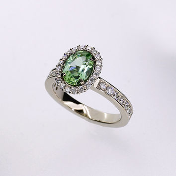 Oval cut Mint green tourmaline  halo engagement ring with diamonds, tourmaline engagement ring,, unique, light green, white gold, diamond