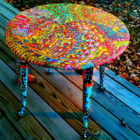 Recycled Functional Art Side Table