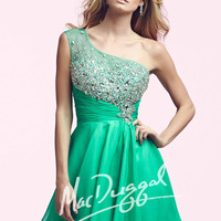 Mac Duggal 64900 - Teal Beaded One Shoulder Homecoming Dresses Online