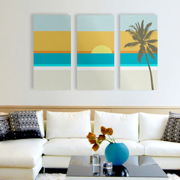 Modern Beach Canvas Print, Beach Canvas Art, Triptych Art, 3 Set Canvas, Large Canvas Print, Modern Home Decor, Minimalist Art Print