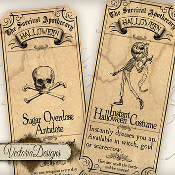 INSTANT DOWNLOAD Survive Halloween Apothecary Labels printable gift tags digital Collage Sheet 381
