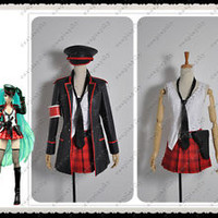Vocaloid Hatsune Miku Vocal Concert PU Leather Army Military Cosplay Uniform