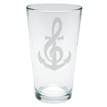 Anchor Clef Note Music Etched Pint Glass