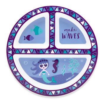 "Cheeky Plastic Divided Kids Plate 8.3"" Mermaid - Purple"