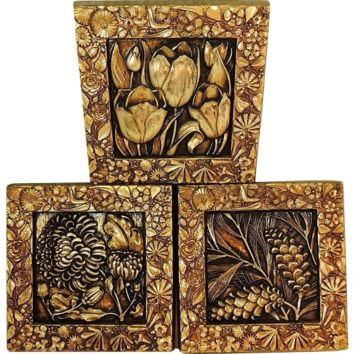 Vintage Syroco FLOWER FLORAL Wall Plaques Decor Set of 3