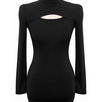 Black Cut Out Turtleneck Acrylic Long Sleeve Dress