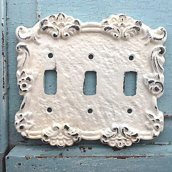 Triple Light Switch Cover, Metal Wall Decor, Heirloom Creamy White, Cast Iron Lighting Outlet Cover