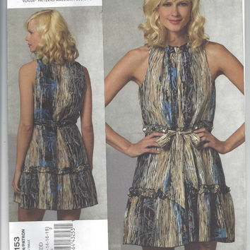Vogue 1153 Pattern for Misses' Dress by Designer Anna Sui - FACTORY FOLDED and UNCUT, From 2010