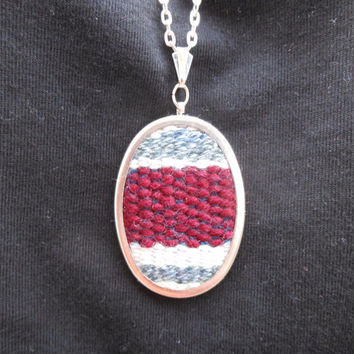 Hand Woven Tapestry Wool Fiber Art Pendant Necklace Maroon White Grey