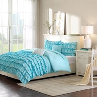 Intelligent Design Waterfall Comforter Set - Blue - Full/Queen