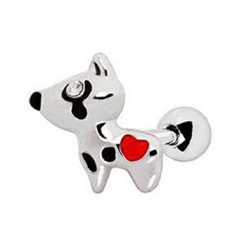 316L Stainless Steel Red Heart Dog WildKlass Cartilage Earring