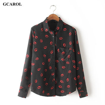 Women Red Lips Printed Blouse Long Sleeve Fashion Casual Shirts Women Summer Spring Autumn Tops High Quality Cheap Clothing