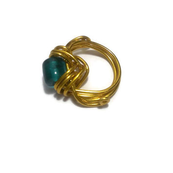 Abstract Gold wire wrap Ring Size 6 with blue Sea glass bead - Charity