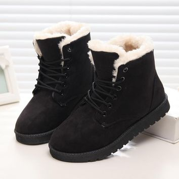 New Warm Winter Boots Women Ankle Girls Boots Classic Suede Snow Boots Female Fur Inso