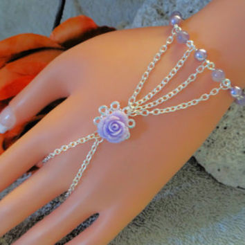 Purple Rose Hand Harness, Finger Bracelet, Infinity Ring, Bracelet Ring, Hand Jewelry, Hand Chain, Body Jewelry