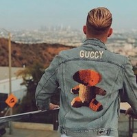 GUCCI GUCCY New fashion back letter print bear cowboy couple long sleeve top jacket coat Light Blue