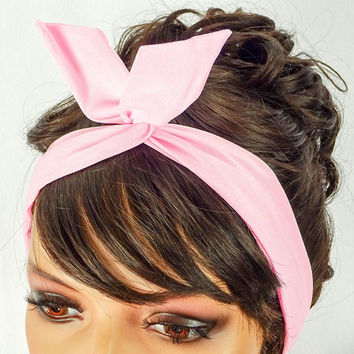 Dolly Bow Wire Headband Pin Up Hair Accessories Baby Pink Dolly Bows Bandana 50s headband Pink Rockabilly Bow Rosie the Riveter Pink Bandana