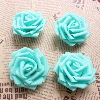 6.5CM Tiffany Blue Artificial Floral Foam EVA Large Roses Heads,DIY Wedding Kissing Balls,Bridal Bouquet Supplies,wrist corsage