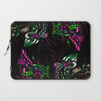 Swan Floral Laptop Sleeve by ES Creative Designs