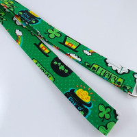 NEW!! St. Patrick's Day Lanyard Irish Lanyard Shamrock Lanyard St. Pat's Lanyard Pot of Gold Leprechaun Lanyard Teacher Lanyard
