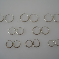 Sterling Silver 925 Hoop Earrings Small Lot Of 8 Pair 10mm 12mm 13mm 15mm Ear Rings