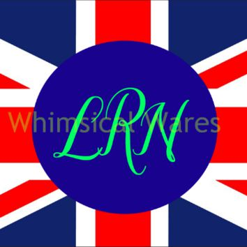 Monogrammed Union Jack Brittish Flag Mouse Pad Round or Square NEW Custom Made  FREE SHIPPING