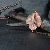 copper leaf pendant beaded necklace nature jewelry gift for her electroplated necklace electroformed botanical