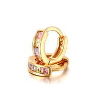 Gold Color 4 Colors CZ Loop Small Circles Huggies Hoop Earrings For Women Children Girls Baby Kids Jewelry Brinco Pequeno Aros