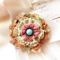 Fabric Flower Brooch ~ Yellow and Turquoise Blue