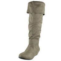 Womens Knee High Boots Fold Over Cuff Flat Comfort Shoes Taupe SZ