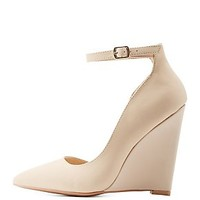 POINTED TOE D'ORSAY WEDGE PUMPS