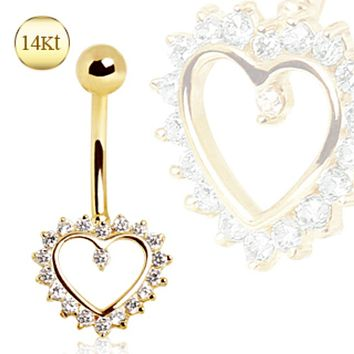 14Kt Yellow Gold Navel Ring with Heart