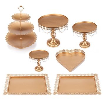 Set of 7 Metal Cake Stand Cake Dessert Serving Tray 3-Tier Cupcake Tower Pedestal Wedding Party Serving Platter with Crystals, Gold (7)
