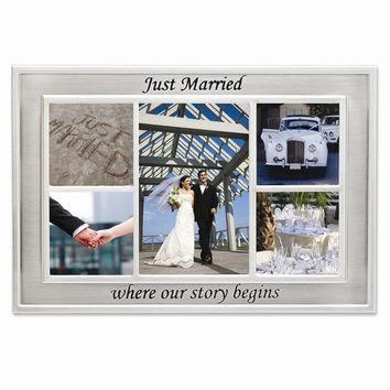 Just Married Where Our Story Begins Collage with 5 Photo Openings