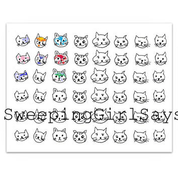 Printable kitty sticker coloring Kawaii cute cat face sticker sheet monthly planner sticker digital instant download life planner digital