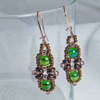 Copper Green Criss Cross Beaded Earrings Rose Gold Handmade Accessory