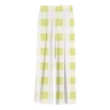 PALE YELLOW GINGHAM Chiffon Slacks