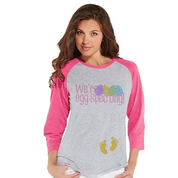 Custom Party Shop Womens EGGspecting Pregnancy Reveal t-shirt