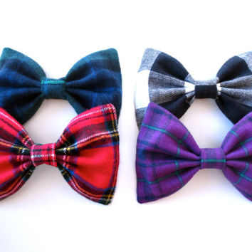 Mad for Plaid Bow Collection- Set of Four Plaid WInter Hair Bows
