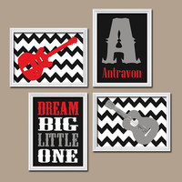 Guitar Boy Wall Art Nursery Canvas Artwork Child Rock Music Red Black Gray Chevron Monogram Name Set of 4 Prints Decor NURSERY